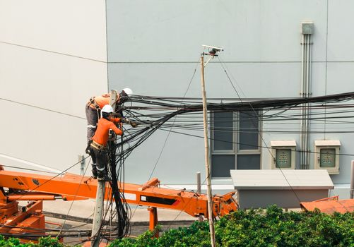 Electricians Engineer are climbing on electric poles to install and repair power lines.