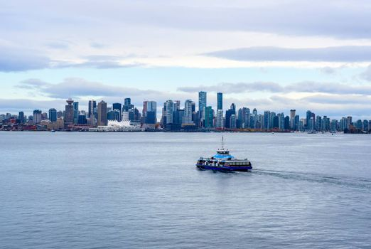 VANCOUVER, BC, CANADA - OCTOBER 28, 2018: The SeaBus is a passenger ferry connecting downtown with North Vancouver across the harbor.