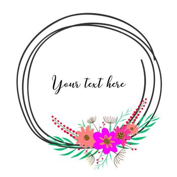 Beautiful round frames with flower for decoration. Decorative element for wedding card. Invitations Vector illustration.