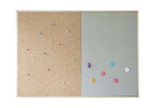 cork board on isolate background. blank cork board with colorful pin on isolate background. empty infomation on cork board.