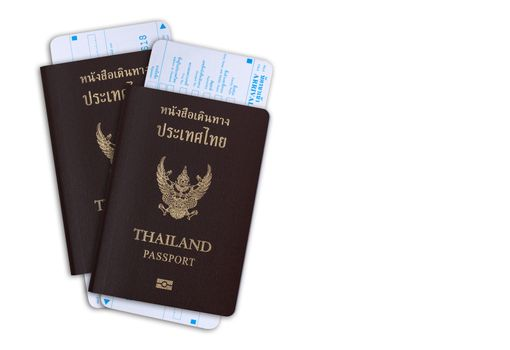 Thai passport with departure card from immigration bureau isolated on white background with clipping path