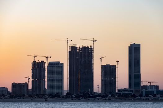 Dubai, United Arab Emirates. February 2nd, 2018.Construction site at sunrise. United Arab Emirates Credit: David GABIS/Alamy Live News
