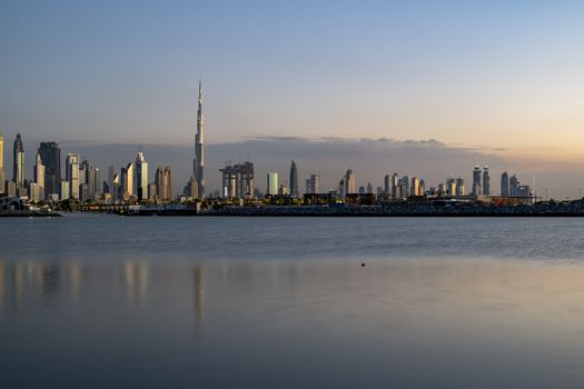 Dubai Downtown Skyline at sunset, United Arab Emirates
