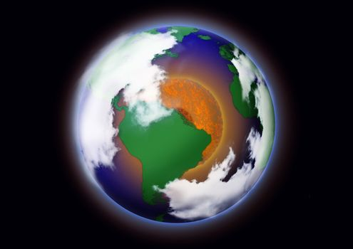 Global warming concept. Picture of the earth with red circle in the middle to convey the warming that is generated by global warming.