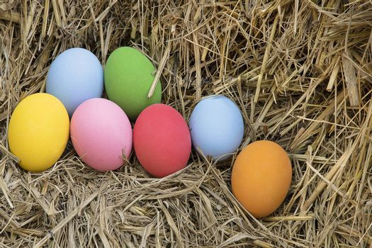 Colorful paint eggs on straw background. Happy Easter eggs hunting concept.