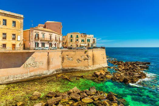 View of Ortygia (Ortigia), the historical part of Syracuse. Sicily, Italy