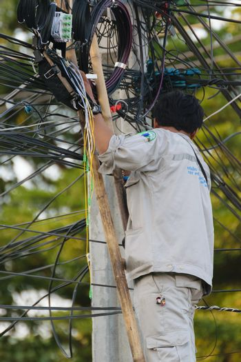 Working to install internet fiber system