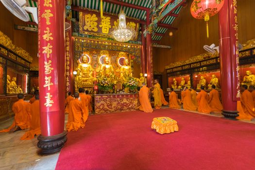 Thai monk worship in Chinese temple