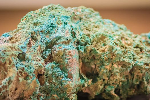 Raw specimen of Malachite stone from mining and quarrying industries. Malachite is a copper carbonate hydroxide mineral, with the formula Cu2CO3(OH)2.