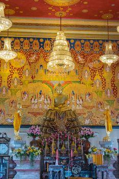 Thai monk worship in temple