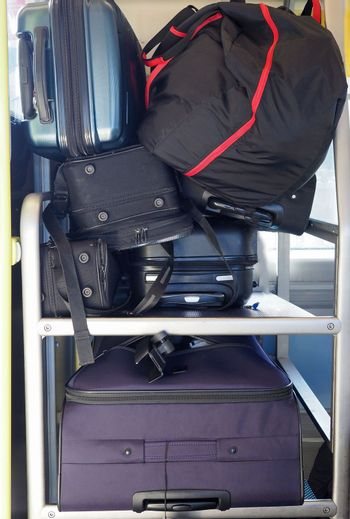 travellers bags on train service to the airport
