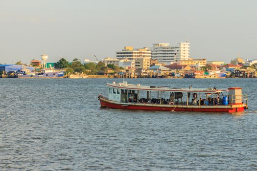 Samut Prakan, Thailand - March 25, 2017: The public ferry service during across Choa Phraya River. Samut Prakan is at the mouth of the Chao Phraya River on the Gulf of Thailand.