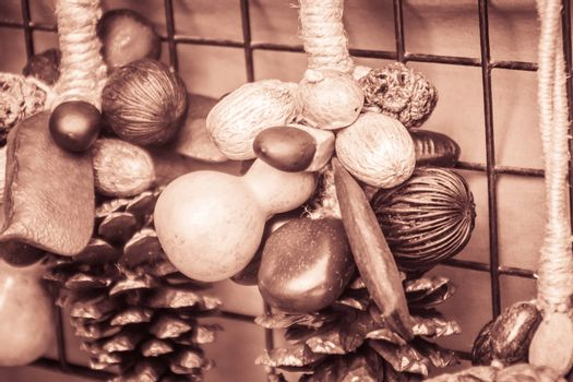 Mixed dry wild fruits seeds for sale as the souvenir, consisted of calabash, makha, pine and pong pong seeds for interior decoration.