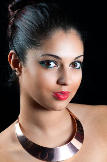 Attractive Woman with SIlver Neckband