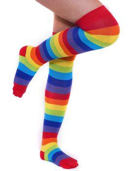 A pair of colourful rainbow over the knee stripy socks