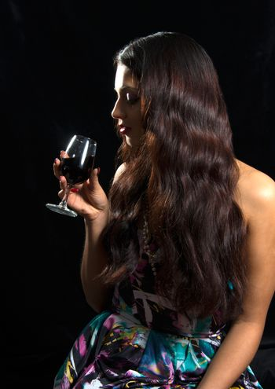 Brunette Woman Drinking Red Wine