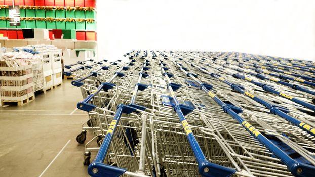 Tokyo, Japan October 28.2017 - IKEA trolley in department storewith copyspace . ,Shopping cart in IKEA supermarket , Shopping trolley in HOME Shopping Center.