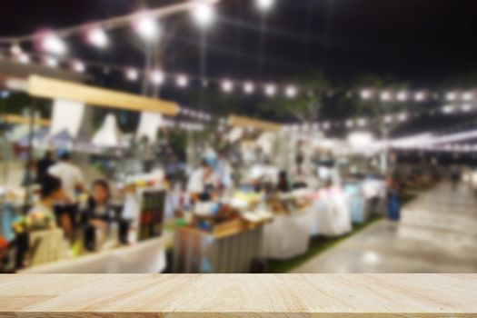 Table Top And Blur restaurant of The night market Background. Street food.