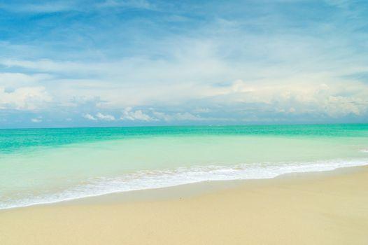 Bangsak beach on blue sky  at khao lak Phangnga province, Thailand.