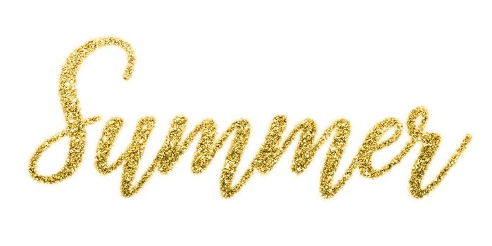 Concept summer. Shiny summer letters gold glitters background