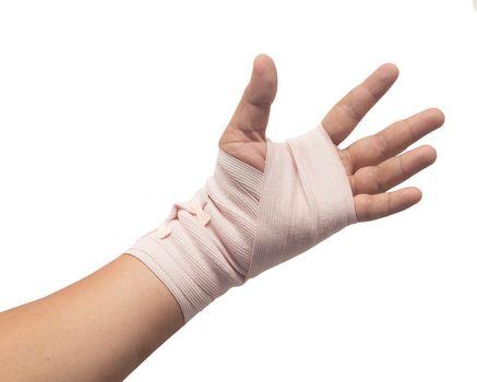 Medicine bandage on human hand isolated