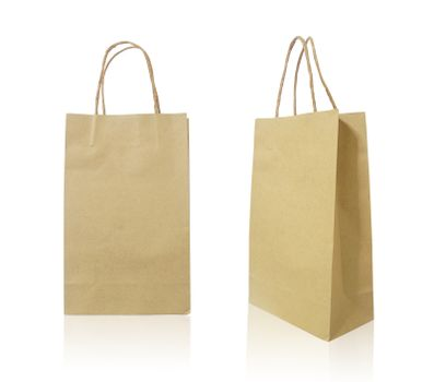 Paper shopping bag on white background
