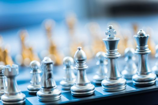 chess pieces on a chessboard, business strategy concept