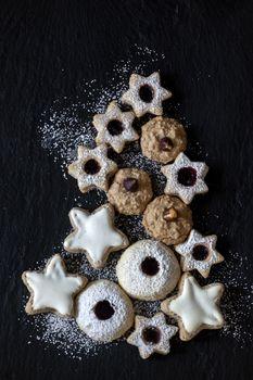 christmas cookie on dark slate