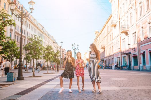 Family on vacation in Saint Petersburg in Russia