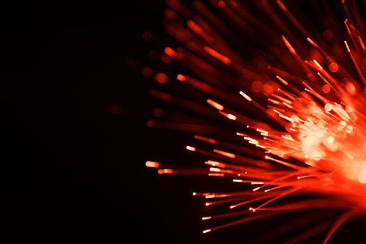 abstract blurred fiber optic line light for network or technolog