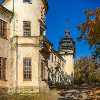 Talne, Ukraine 10.19.2019. Abandoned Count Shuvalov Palace in Talne village, Cherkasy region, Ukraine, at fall