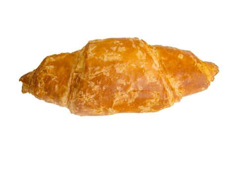 Fresh one croissant isolated on a white background by clipping.