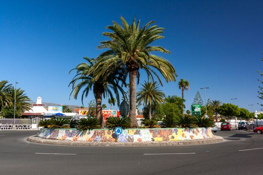 Famous roundabout in Playa del Ingles