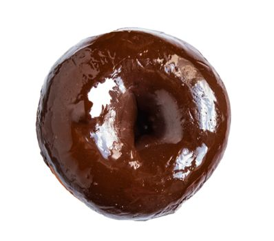One chocolate donut isolated on a white background, top view.