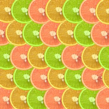Colorful fruit pattern of fresh orange slices. Top view background.