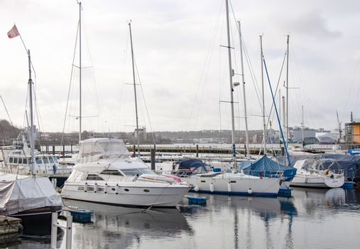 FLENSBURG, GERMANY. JANUARY 26, 2020 Yachts and boats at the pier