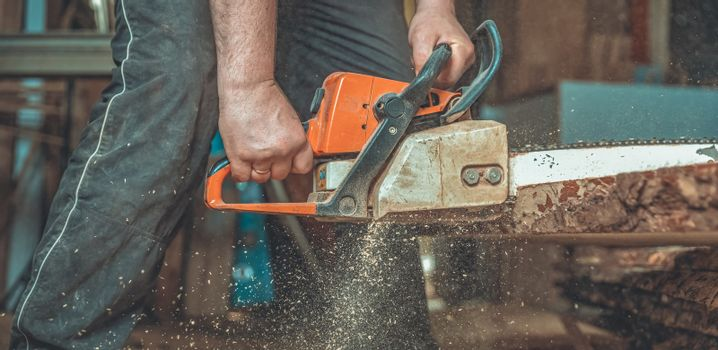 chainsaw manual in the hands of a carpenter cutting wood
