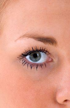 A close up of a beautiful female eye