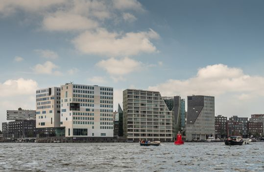 Justice Palace and other buildings on IJdok in Amsterdam Netherl