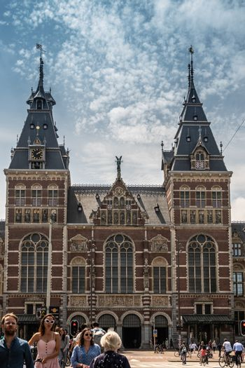 Rijksmuseum towers and central entrance in Amsterdam Netherlands
