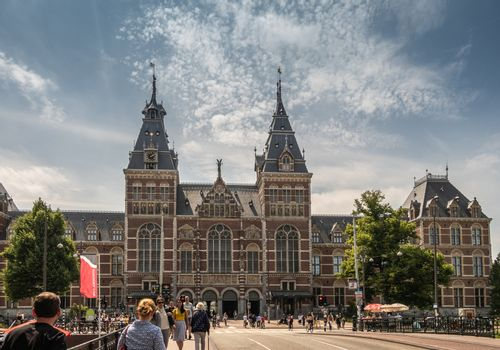 Wide shot of Rijksmuseum towers and central entrance in Amsterda