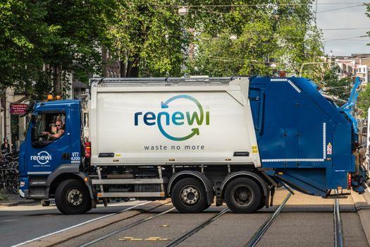 Renewi garbage collection truck in Amsterdam Netherlands.