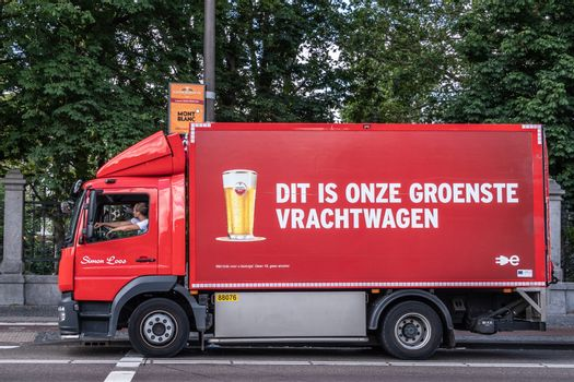 Red Amstel Beer delivery truck in Amsterdam Netherlands.