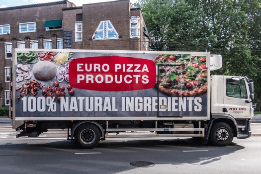 Euro Pizza producer delivery truck in Amsterdam Netherlands.