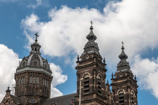 Towers and roof of Basilica of Saint Nicolas in Amsterdam Nether