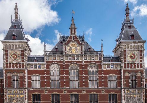 Upper facade of Centraal Railway Station in Amsterdam Netherland