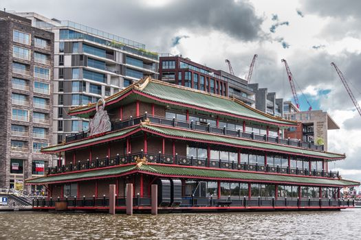 Long facade of Sea Palace Chinese Restaurant in Amsterdam, Nethe