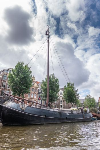 Avance canal houseboat in Amsterdam, the Netherlands.