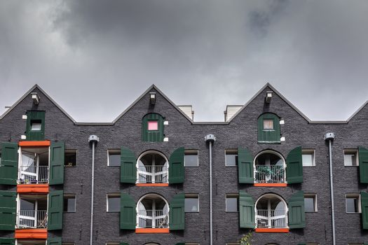 Gables and facades of apartment building in Amsterdam, the Nethe