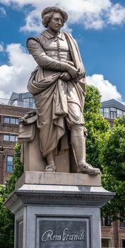 Rembrandt Van Rijn statue on Rembrandtplein, Amsterdam, the Neth